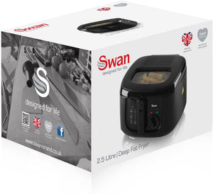 Swan 2.5 Litre Deep Fat Fryer with Viewing Window, Adjustable temperature controls, Easy Clean, 1800 W, Black, SD6080BLKN