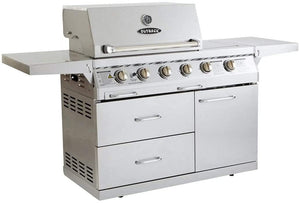 Outback Signature 4 Burner Gas BBQ with Side Burner Stainless Steel