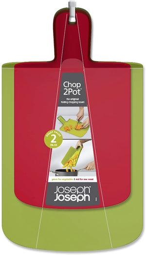 Joseph Joseph Chop2Pot Plus, Folding Chopping Board, Red and Green, Set of 2