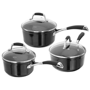 Stellar 3000 Black 3 Piece Saucepan Set, S3A1B