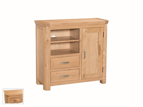 Curved Oak Media Unit Sideboard