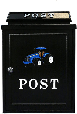 Blue Tractor Post Box Wall Mounted