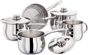 Stellar 1000 5 Piece Deep Saucepan Set with Steamer Insert S1F5B