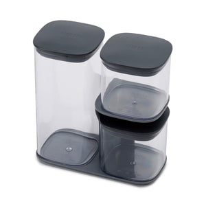 Joseph Joseph Podium 3-Piece Storage jar Set with Stand Grey