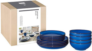 Denby Imperial Blue 12 Piece Coupe Boxed Tableware Set