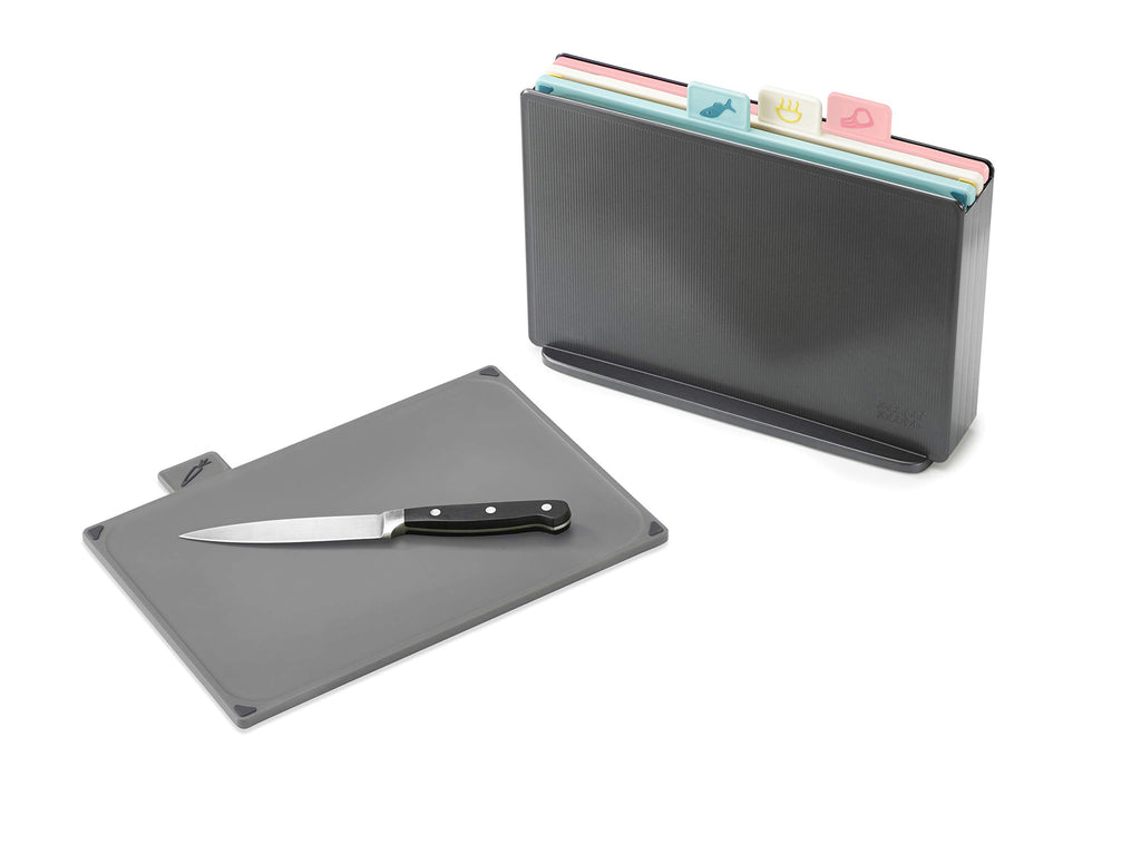 Joseph Joseph Index Plastic Chopping Board Set Regular Graphite/Pink  Set of 4
