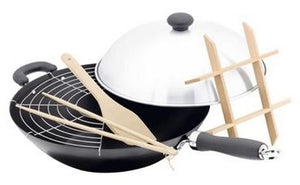 Judge 35cm Non-Stick Wok Set-High Dome Lid Steamer Rack/Spatula/Chopsticks