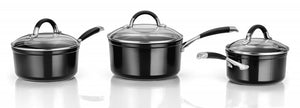Stellar 3000 Black 3 Piece Saucepan Set S3A1B