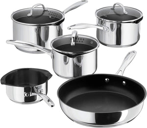 Stellar 7000 Non-Stick Draining Saucepan Set Stainless Steel S7C1DNS All Hobs