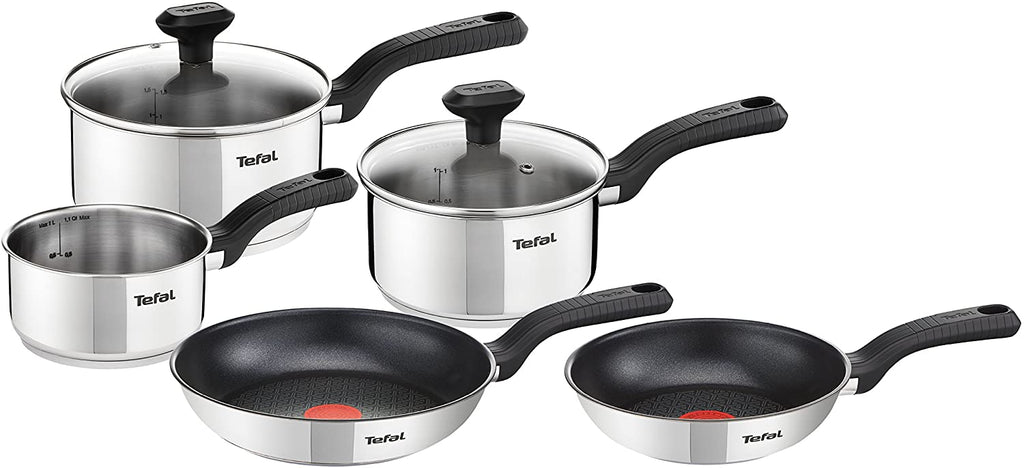Tefal 5 Piece Comfort Max Stainless Steel Pots and Pans Induction All Hobs