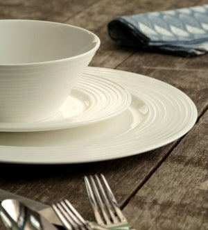 Belleek Living Ripple 12 Piece Porcelain Dinner Set