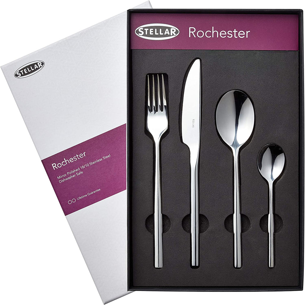 Stellar Rochester 24 Piece 18/10 Polished Cutlery Set Gift Boxed BL50