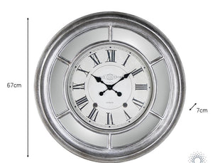 Bella Mirrored Clock Silver 65cm