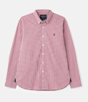 JOULES MENS BLYTHE LONG SLEEVE CLASSIC FIT PEACHED POPLIN SHIRT - PURPLE CHECK