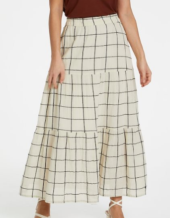 Part two skirt DiaPW in Off white with navy check