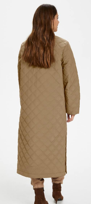 Part Two ladies coat EdithPW OTW,in warm khaki quilted