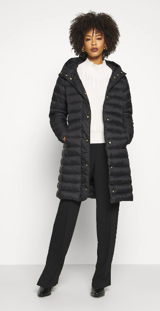 Part Two ladies coat Eldina in black, long puffa, down filled with hood