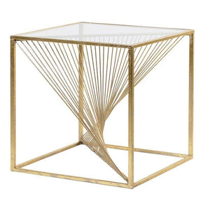 Square Coffee Table twist, Gold, Glass top