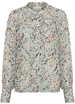 Part two ladies shirt in Abstract leo print aqua, long sleeve blouse