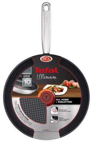 Tefal Ultimum Stainless Steel Frypan 28cm Non-Stick Fry Pan All Hobs inc Induction