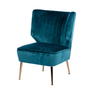 Teal Chair Accent In Teal Velvet Winged