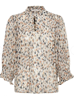 PART TWO HOASPW BLOUSE WITH 3/4 SLEEVE in paint print neutral