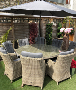 Royalcraft Wentworth 8 Seater Round Rattan Dining Table with High Back Comfort Chairs