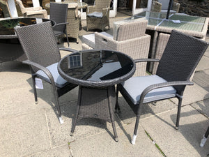 Royalcraft Malaga 3 Piece Bistro Set 70cm Table + 2 Stacking Chairs & Cushions