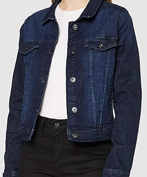 Ichi Jacket Stampe  in dark denim blue