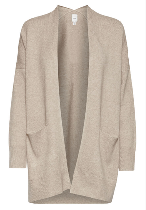 Ichi ladies cardigan Ihalpa in natural, long line with pockets