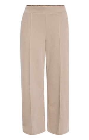 Ichi ladies trousers Ihkate pique pa2 in natural, wide leg ankle length