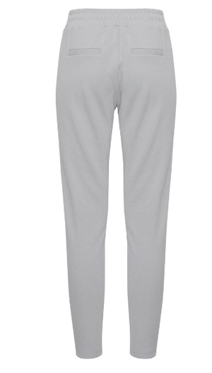 Ichi ladies trousers Ihkate pique pa in harbour mist, ankle length slim leg