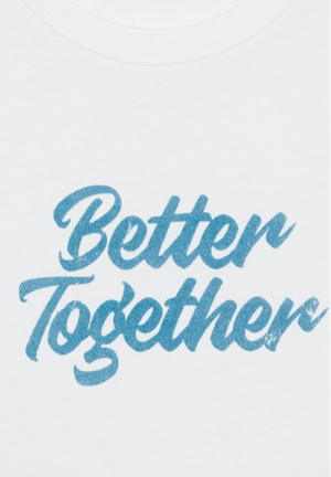 "Ichi ladies short sleeve top, ""better together"" tee in cloud dancer"