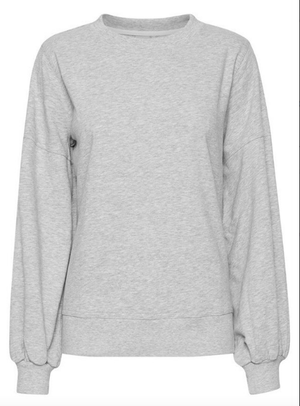 Ichi ladies sweatshirt Ihlorena in grey melange jersey cotton