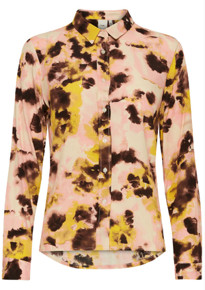 Ichi ladies shirt Ihvauna in super lemon, long sleeve