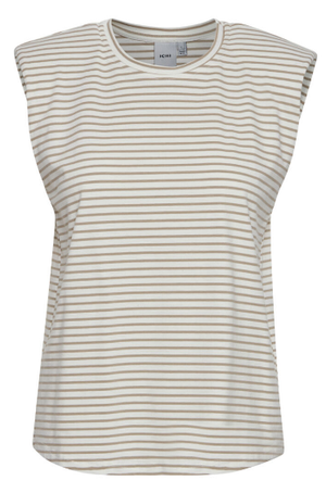 Ihwejana ladies top from Ichi in yarrow, stripe top with shoulder pads