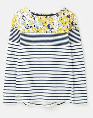 JOULES WOMENS HARBOUR PRINT LONG SLEEVE JERSEY TOP - CREAM BLUE FLORAL BORDER