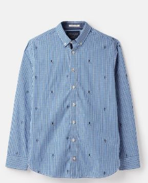 JOULES MENS COLERIDGE LONG SLEEVE CLASSIC FIT SHIRT- BLUE RUGBY CHECK