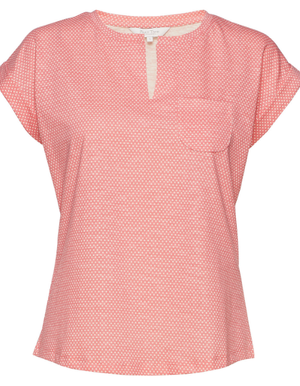 Part Two ladies top kedita diamond print peach blos tee cap sleeve