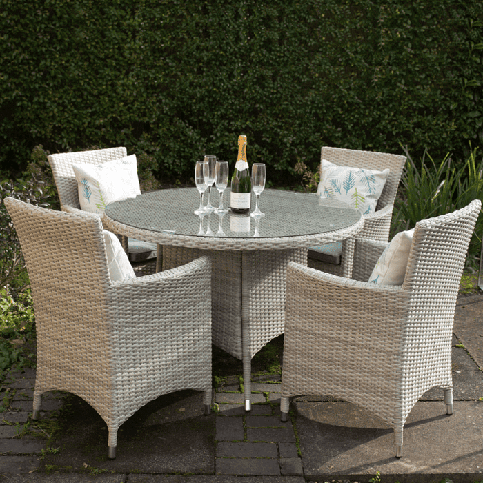 Royalcraft Garden Furniture Lisbon Rattan 4 Seater Round Carver Dining Set