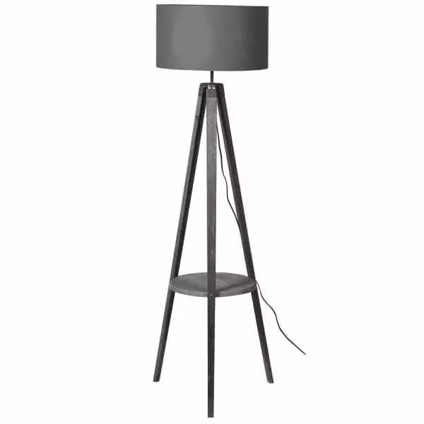 Grey wooden tripod floor lamp with shelf
