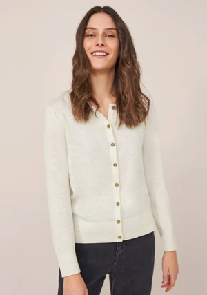 Lola Crew Neck Cardi in natural white