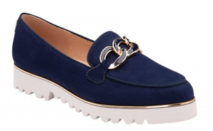 Navy Cassia Microfibre Loafers | Lotus Women's Shoes
