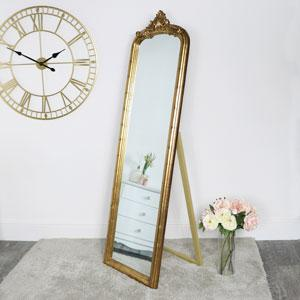 Gold freestanding mirror