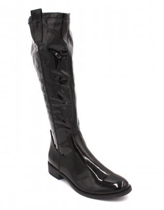 MARCO TOZZI KNEE HIGH PATENT BOOT- BLACK
