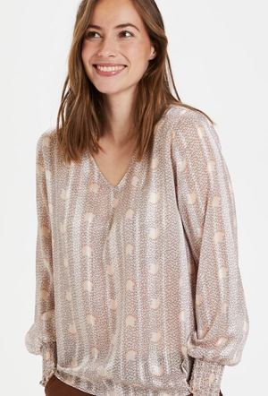 Culture top CUnajiba shirt in irish cream dot