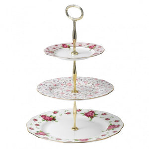 Country Roses White Vintage 3 Tier Cake Stand