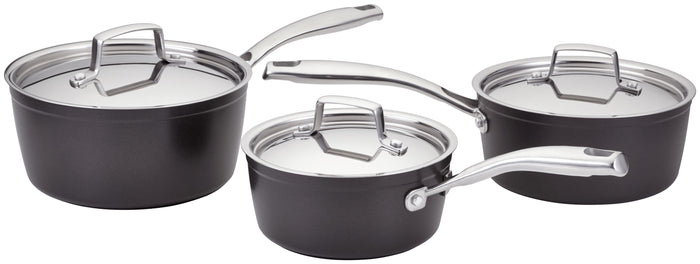 Stellar Rocktanium 3 Piece Saucepan Set Stainless Steel Lids Suitable All Hobs