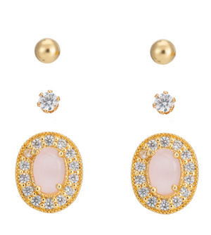 BELLE & BEAU ROSE SPARKLE EARRING GIFT SET - ROSE GOLD