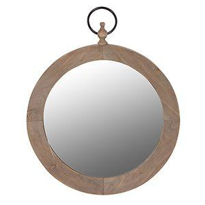 Wooden round ring mirror
